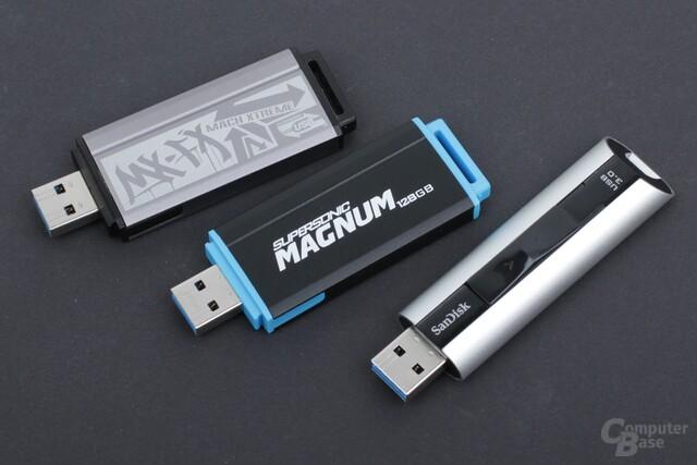 Drei Testkandidaten mit jeweils 128 GB
