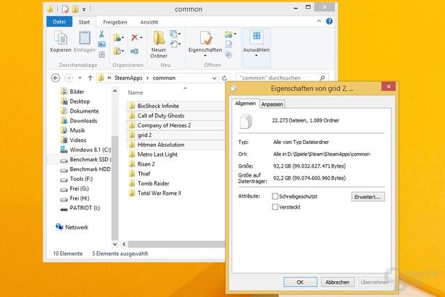 Kopie eines Steam-Ordners mit 22.300 Dateien und 92,2 Gigabyte Volumen