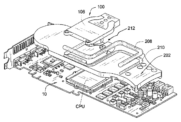 """Asetek-Patentzeichnung für das """"thermal interposer liquid cooling system"""""""