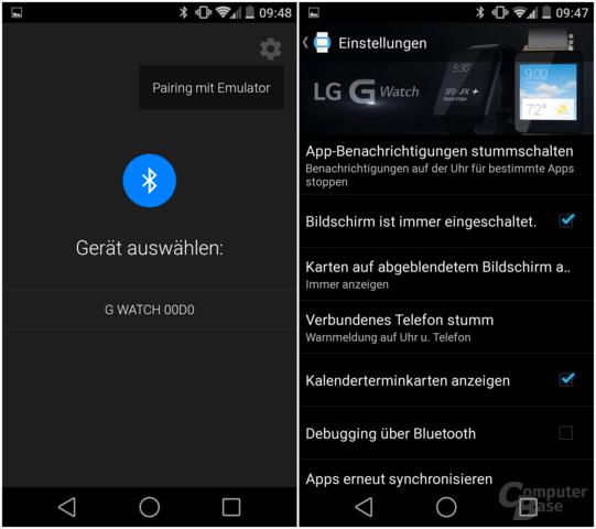 Android-Wear-App – Pairing und Einstellungen