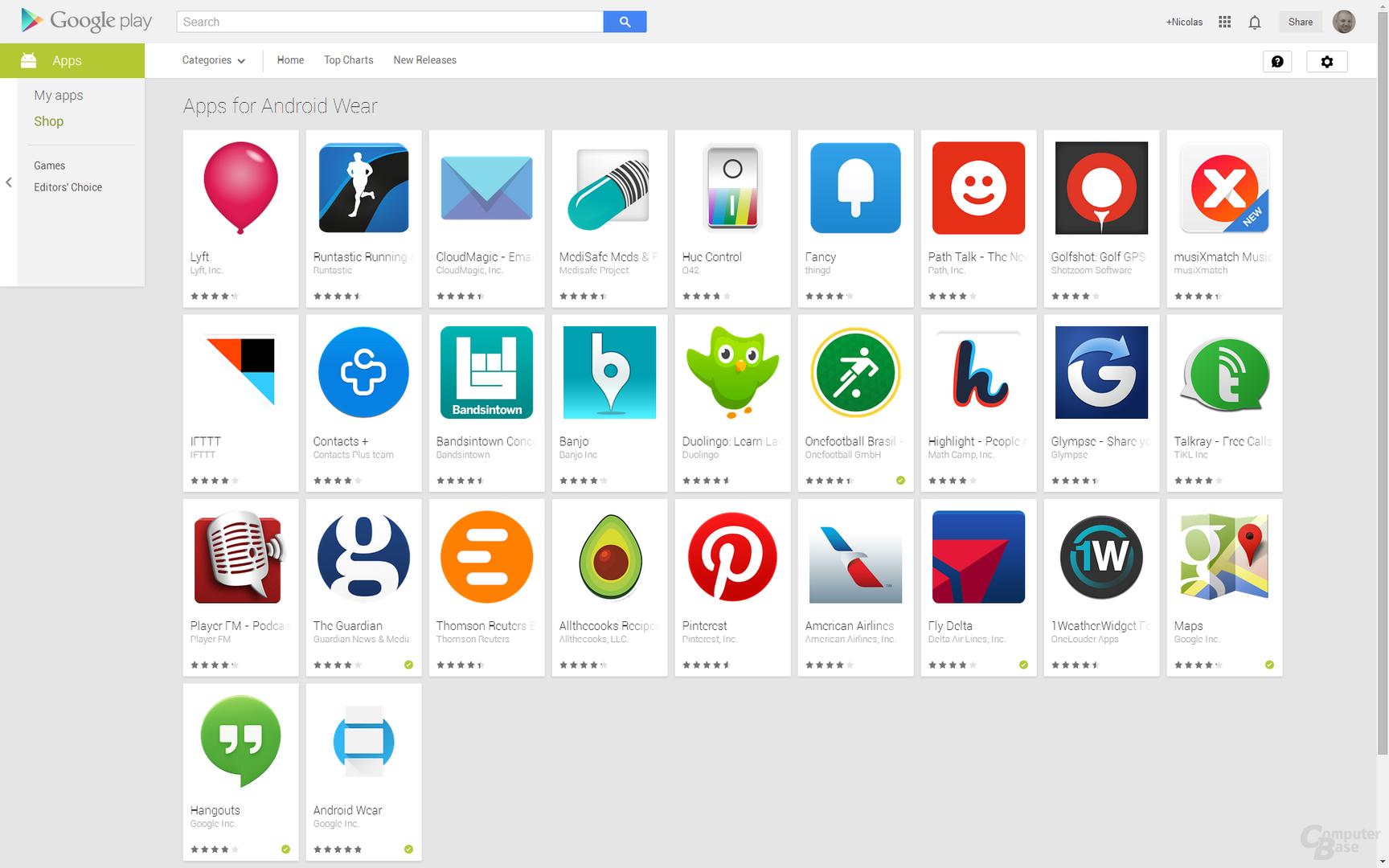 App-Angebot für Android Wear auf Google Play
