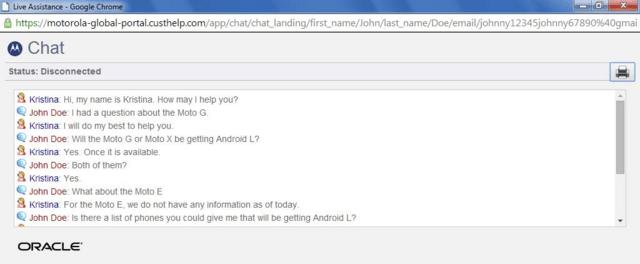Motorola-Support zum Thema Android L