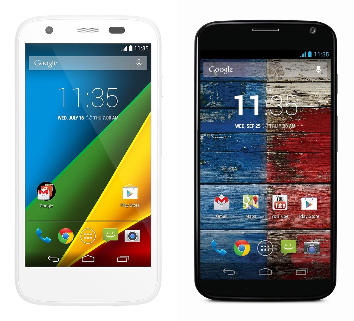 Motorola Moto G und Moto X