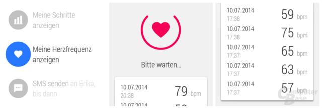 Herzfrequenzmesser der Samsung Gear Live