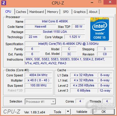 Intel Core i5-4690K bei 4,8 GHz