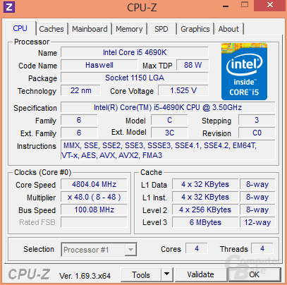 Intel Core i5-4690K bei 4,8 GHz