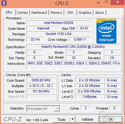 Intel Pentium G3258 mit 0,15 Volt weniger Spannung