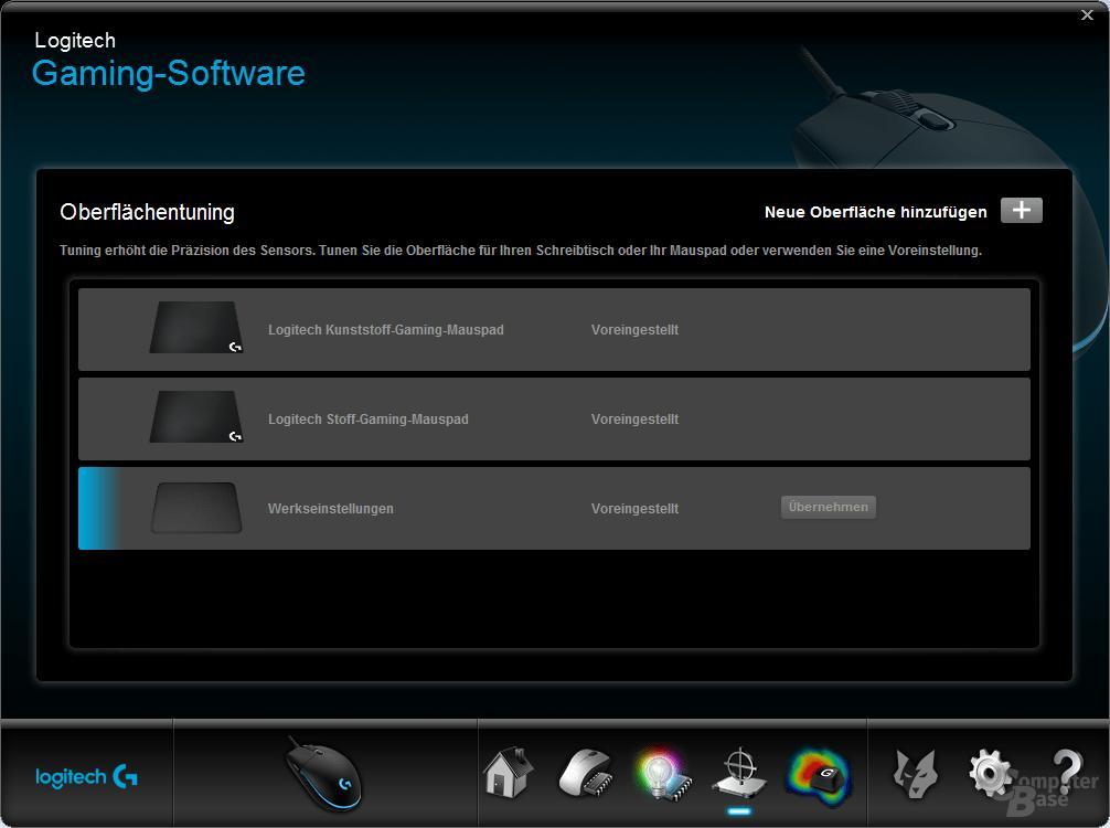 Logitech Gaming Software – Mauspadoberläche auswählen oder neu hinzufügen