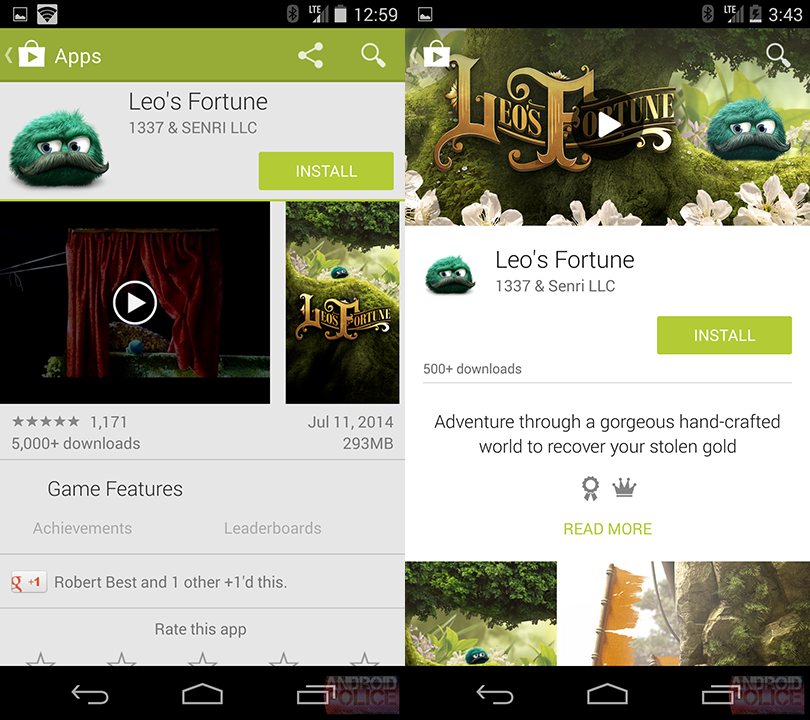 Googe Play Store im Material Design für Smartphones