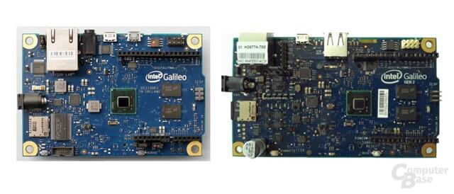 Intel Galileo Gen1 (links) und Gen2 (rechts)