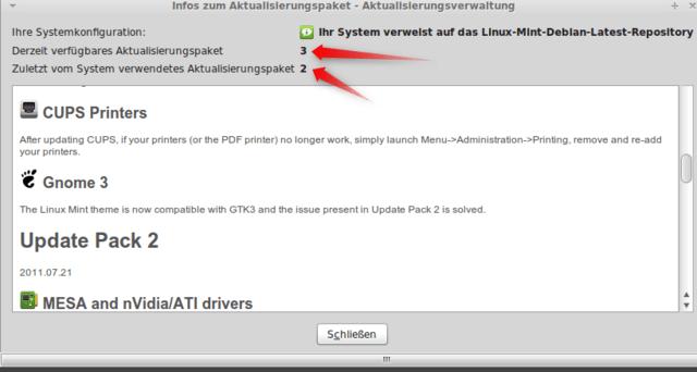Mint Update-Manager mit Anzeige der UPs