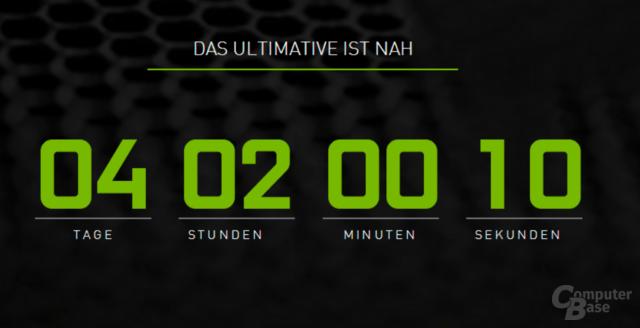 Countdown auf der Nvidia-Homepage