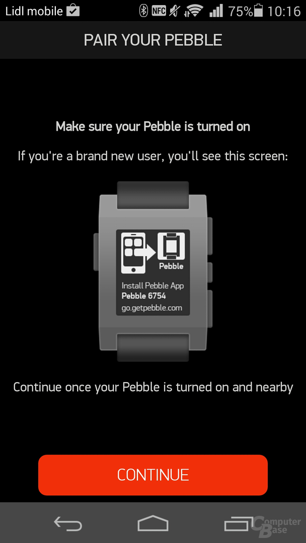 Pebble-App Kopplung zum Smartphone