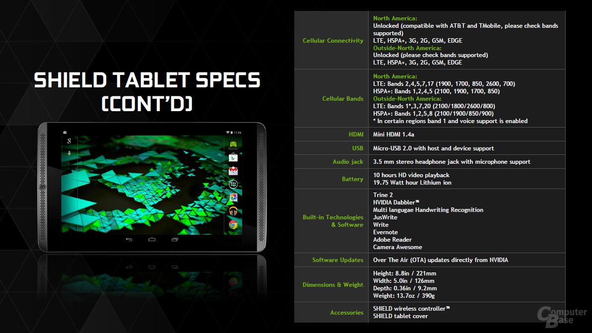 Nvidia Shield Tablet - Technische Daten