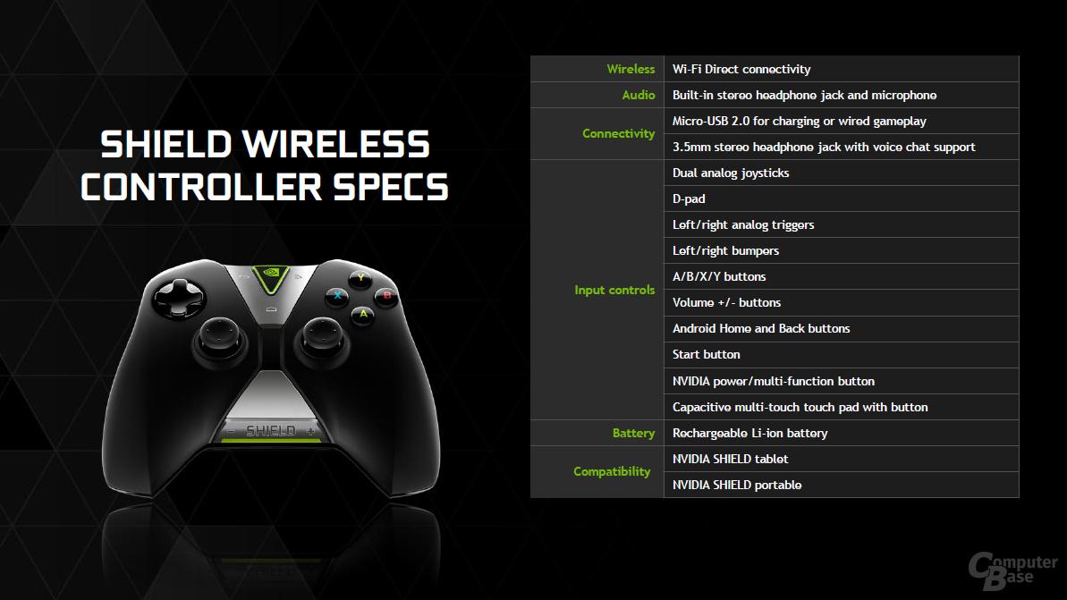 Nvidia Shield Controller - Technische Daten