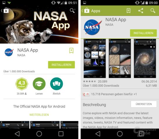 Play Store Version 4.9.13 und 4.8.20 im Vergleich