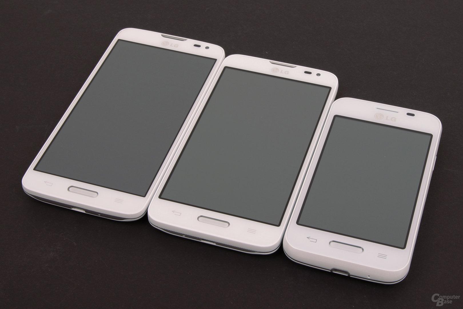 LG L90, L70 und L40 Größenvergleich