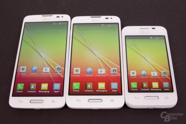 LG L90, L70 und L40 Größenvergleich Display