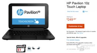 HP Pavilion 10z mit AMD E1 Micro-6200T (Mullins)