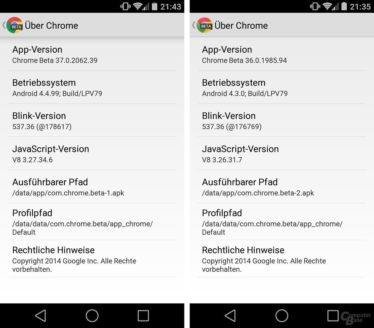 Chrome Beta 37 / 36