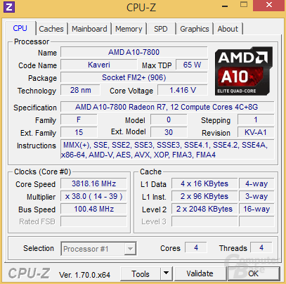 CPU-Z vom AMD A10-7800