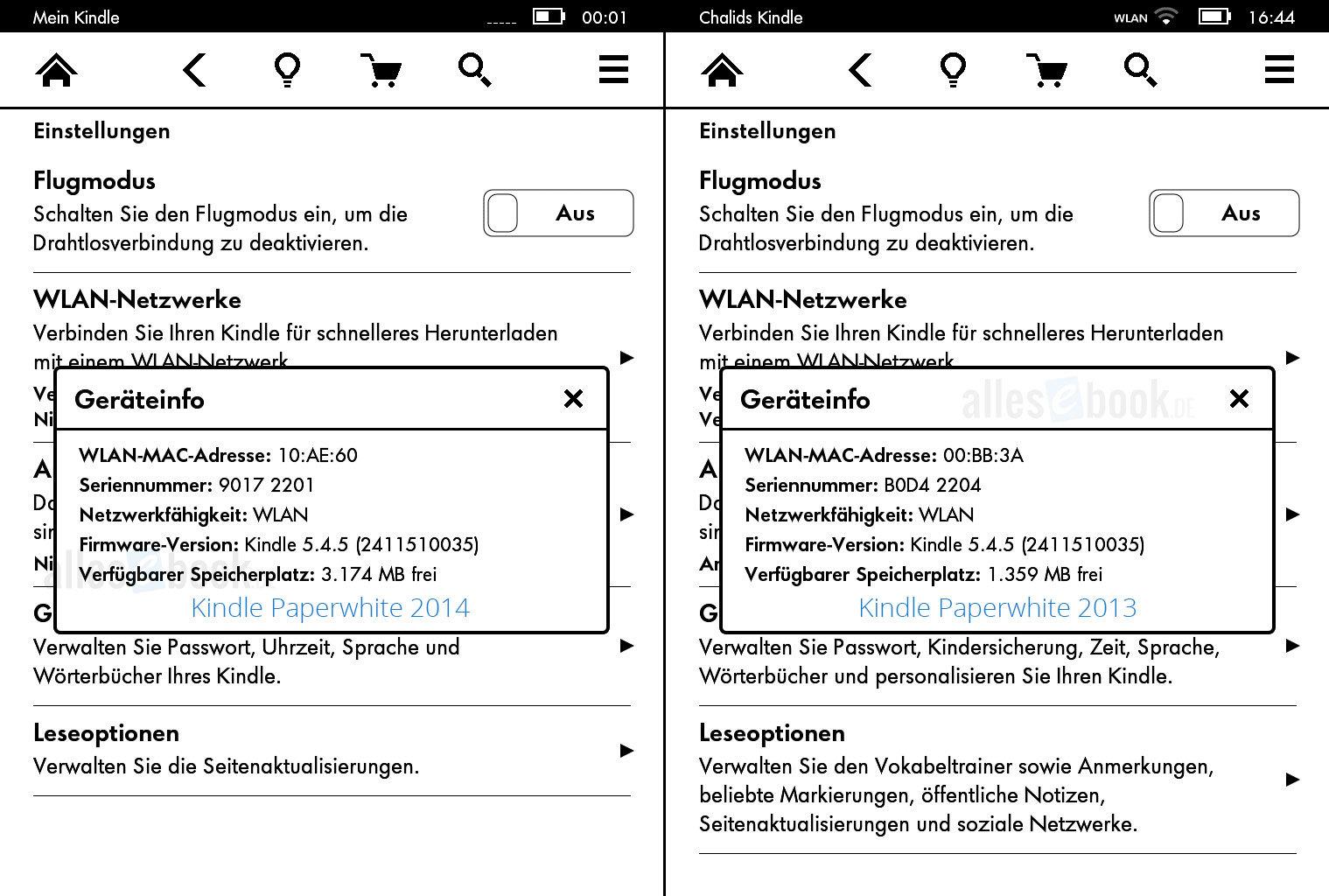 Speicherplatz-Vergleich Paperwhite 2014 vs. Paperwhite 2013