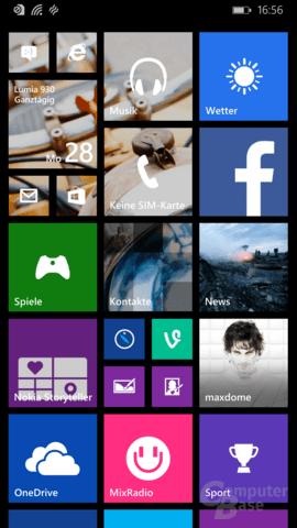 Startbildschirm mit Hintergrund