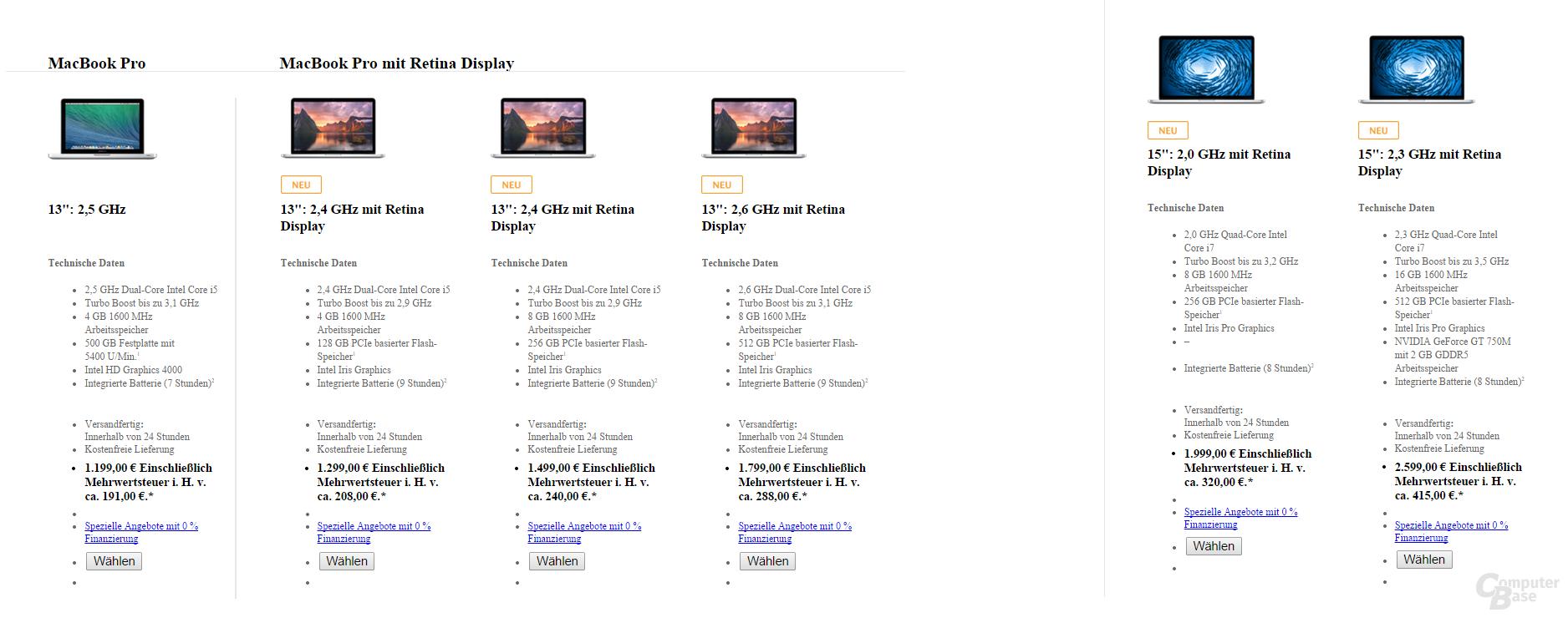 MacBook-Sortiment bis 28.07.2014