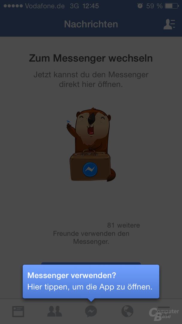 Facebook-App empfiehlt den Messenger