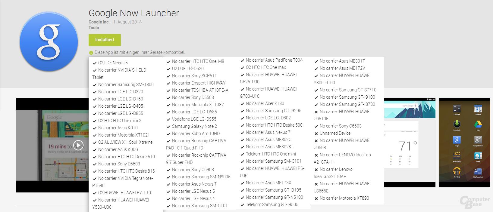 Google Now Launcher - Kompatibilität