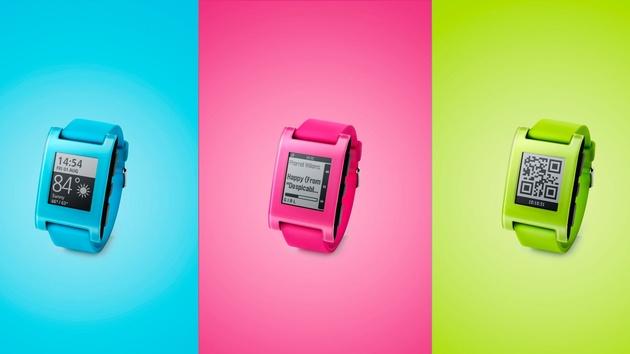 Smartwatch Pebble #FreshHotFly in Blau, Pink und Grün
