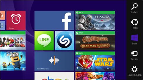 Charms Bar (rechts) unter Windows 8