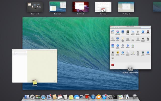 Auswahl Multipler Desktops unter OS X (oberer Bildschirmrand)