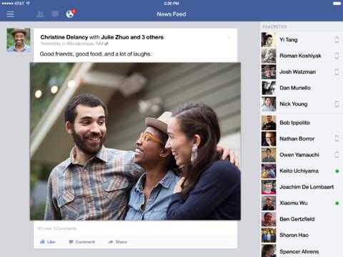 Facebook-App auf dem iPad