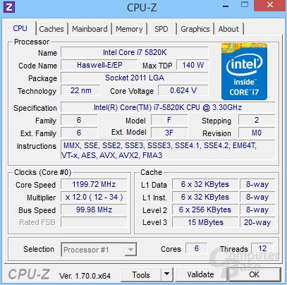 Intel Core i7-5820K im Leerlauf undervoltet