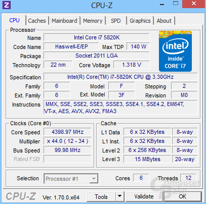 Intel Core i7-5820K bei 4,4 GHz
