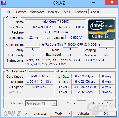 Intel Core i7-5960X undervoltet