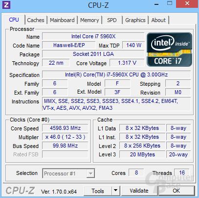 Intel Core i7-5960X übertaktet