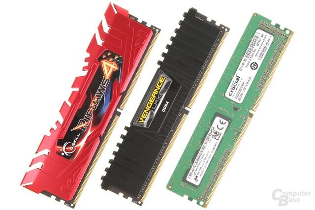 DDR4-Module von G.Skill, Corsair und Crucial