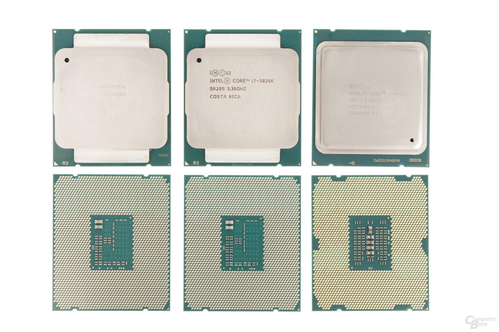 v.l.n.r.: Intel Core i7-5690X, i7-5820K und i7-4960X