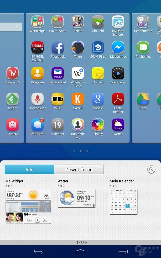 Auswahlmenü für Homescreen-Widgets