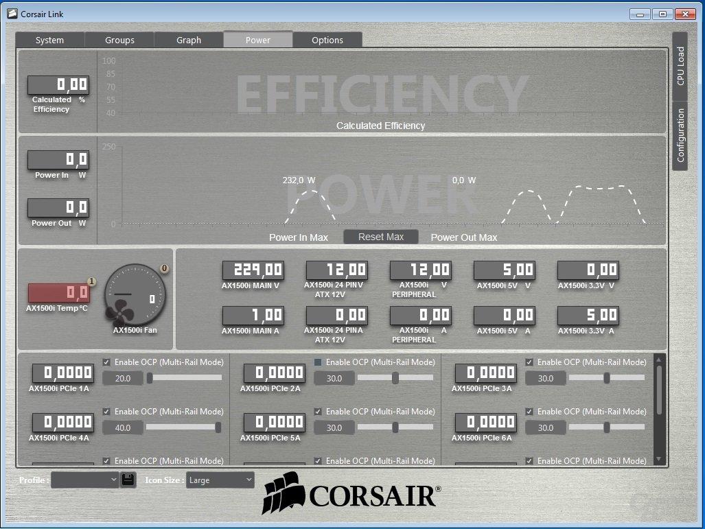 Corsair Link – Messwerte und Einstellung Überstromschutz