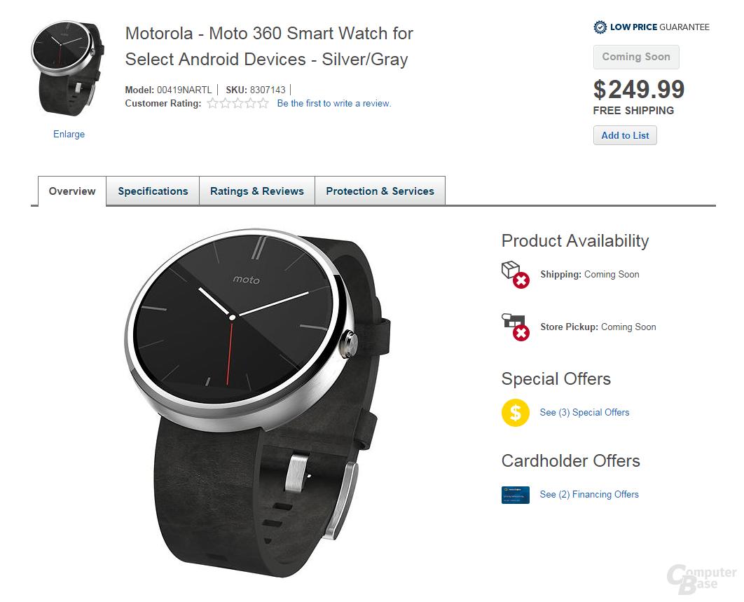 Motorola Moto 360 auf Best Buy