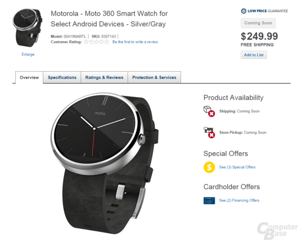 Motorola Moto 360 auf Best Buy