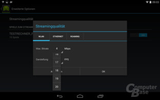 Nvidia Shield Tablet – Streaming-Konfiguration