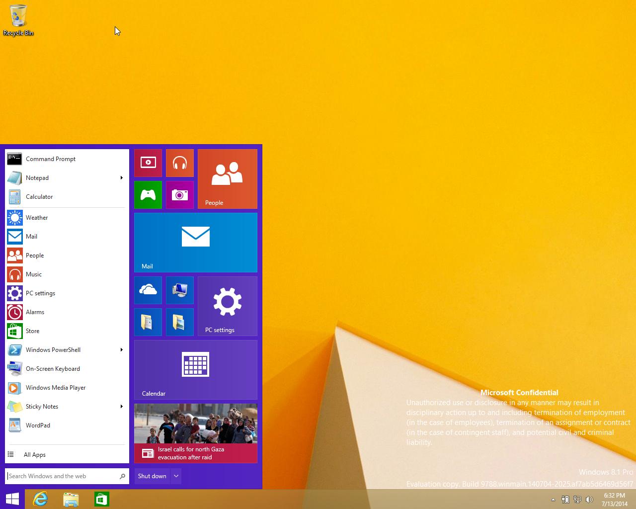 Das neue klassische Startmenü in einer Entwicklerversion von Windows 9