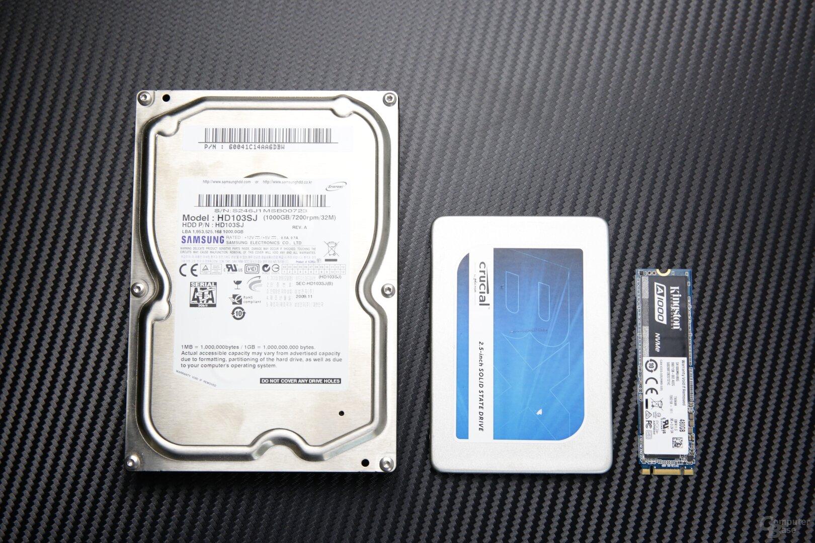 """v.l.n.r.: Klassische HDD (3,5""""), 2,5""""-SSD (SATA) und M.2-SSD (hier NVMe)"""