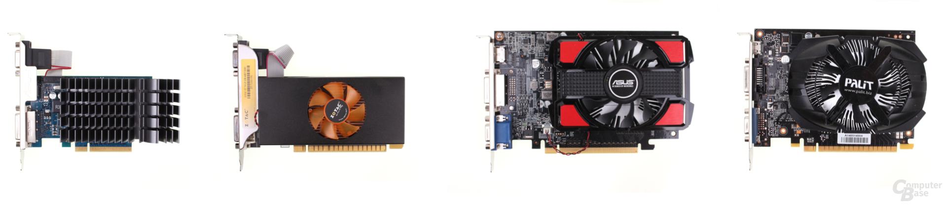 v.l.n.r.: Asus GT 730 DDR3, Zotac GT 730 GDDR5, Asus GT 740 DDR3, Palit GT 740 GDDR5