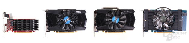 v.l.n.r.: Asus R7 240 DDR3, MSI R7 250 DDR3, MSI R7 250 GDDR3, Gigabyte R7 250X GDDR5