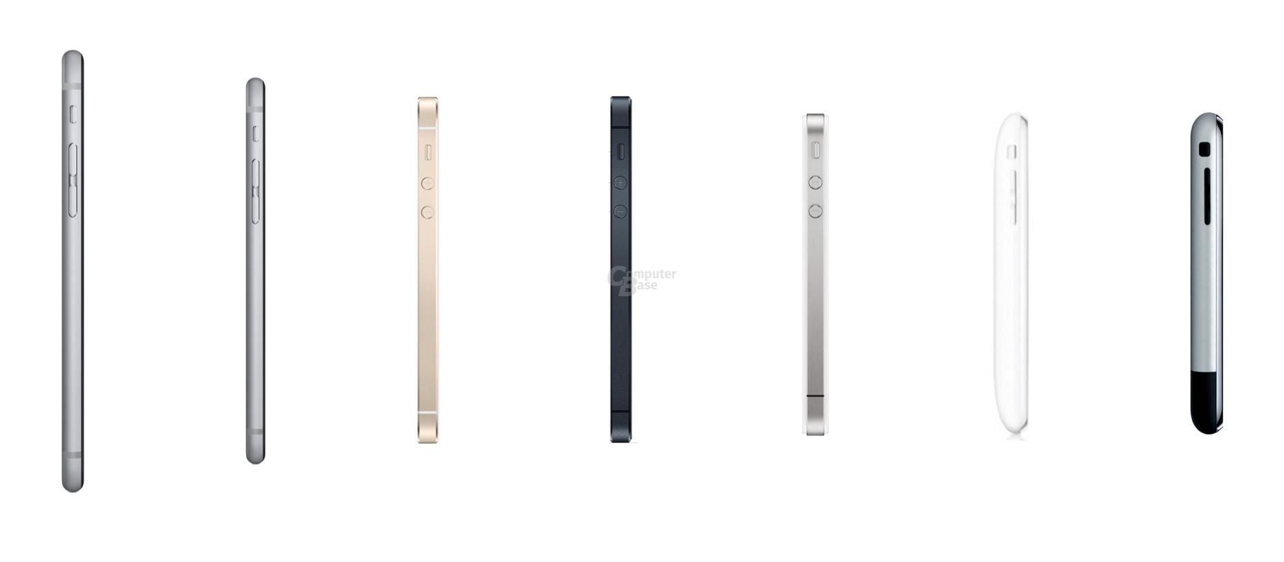 v.l.n.r.: iPhone 6 (Plus), 5S, 5, 4S/4, 3GS/3G und iPhone (Seite)